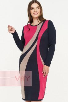 Платье женское 182-2308 Фемина (Темно-синий/коралл/светлая верба)
