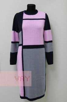Платье женское 182-2338 Фемина (Темно-синий/стальной/розовый)